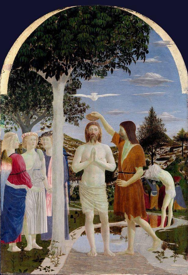 Piero della Francesca, Battesimo di Cristo, 1448-50 ca., National Gallery, Londra - Public Domain via Wikipedia Commons