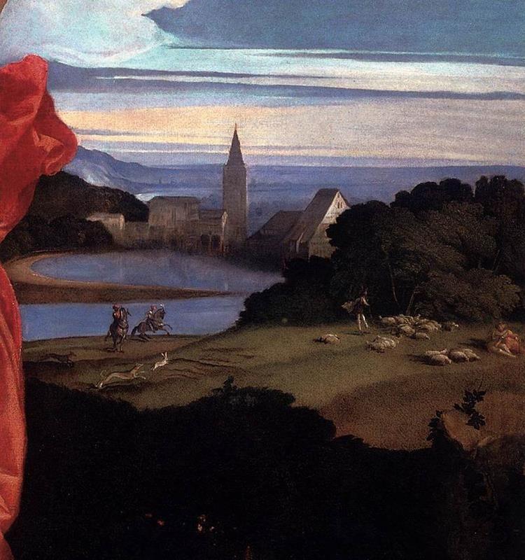 Tiziano Vecellio, Amor sacro e amor profano - Dettaglio paesaggio