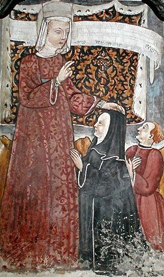 Santa Guglielma. Chiesa di S. Andrea, Brunate. Santa Guglielma è una santa semi-leggendaria, venerata a Brunate e a Morbegno. Secondo alcuni sarebbe una figura ispirata alla boema (public domain, via Wikimedia Commons).