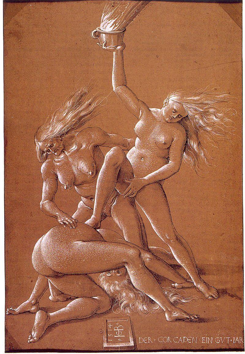 Hans Baldung Grien, Tre streghe, 1514 ca. (public domain, via Wikimedia Commons).
