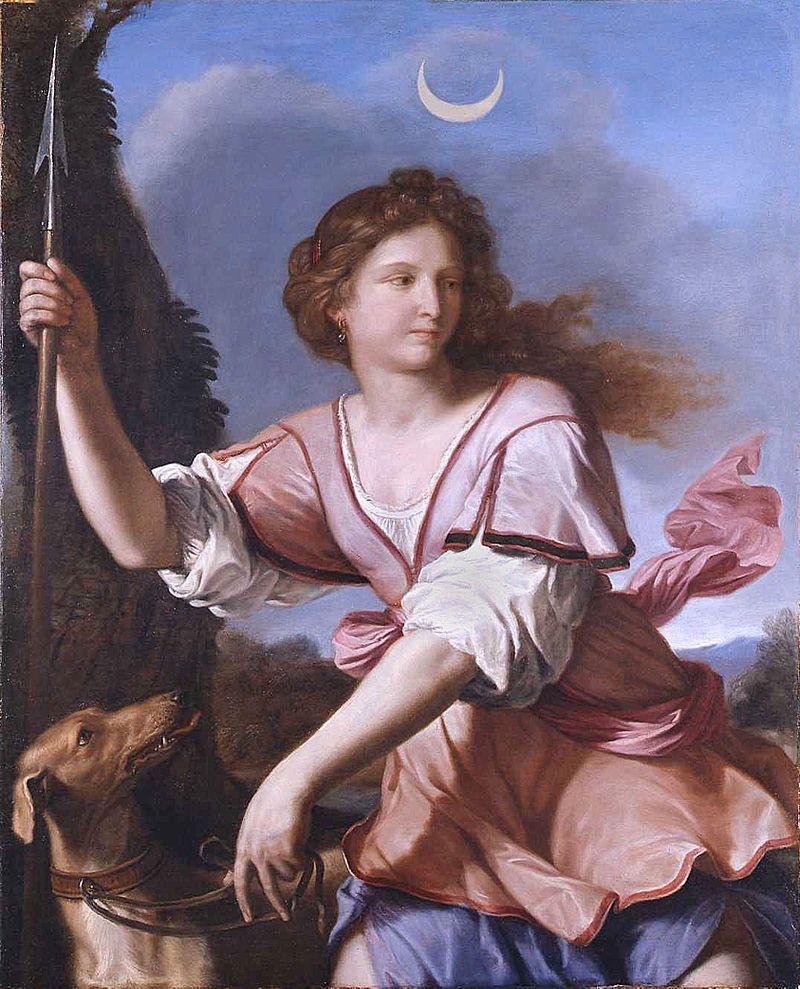 Guercino, la dea Diana associata alla Luna, 1658 (public domain, via Wikimedia Commons).