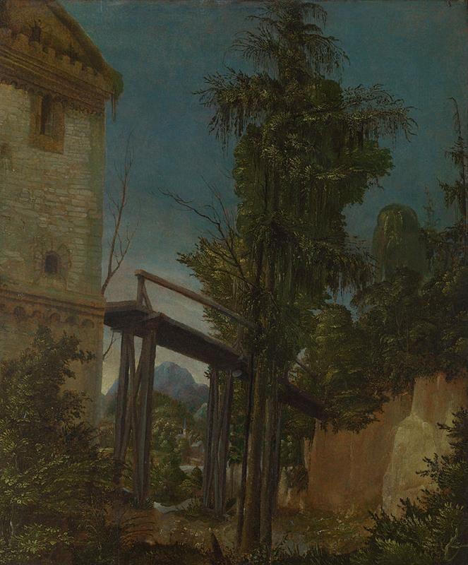 Albrecht Altdorfer, Paesaggio con un ponte, 1518 circa, tavola, Londra, National Gallery - Public Domain via Wikipedia Commons