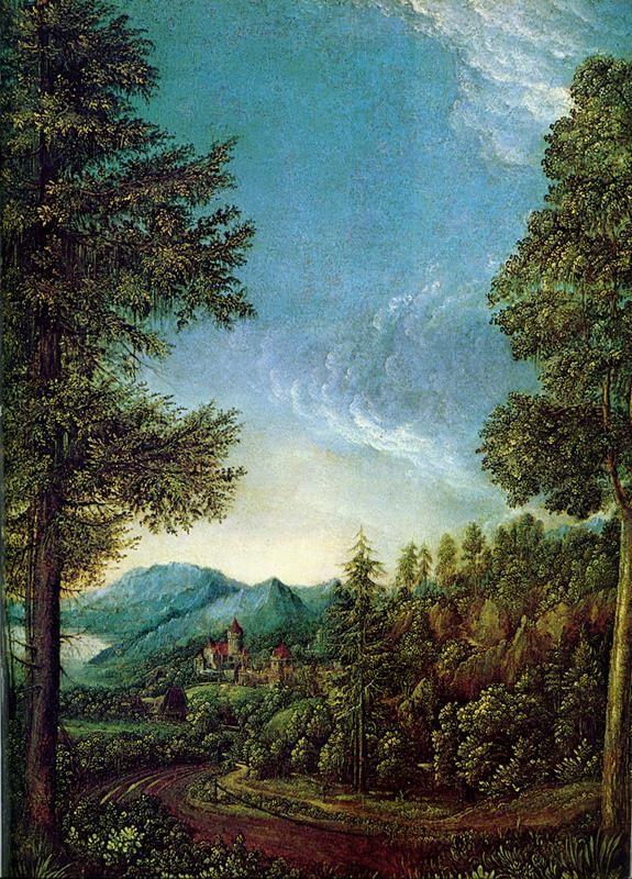 Albrecht Altdorfer, Paesaggio danubiano, 1520-25 ca., Alte Pinakothek, Monaco - Public Domain via Wikipedia Commons