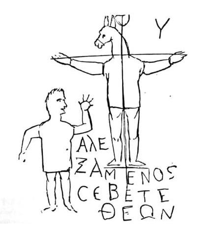 """Graffito di Alessameno. La scritta in greco significa: """"Alessameno venera il suo dio"""", cioè un crocifisso con la testa d'asino (public domain, via Wikimedia Commons)."""