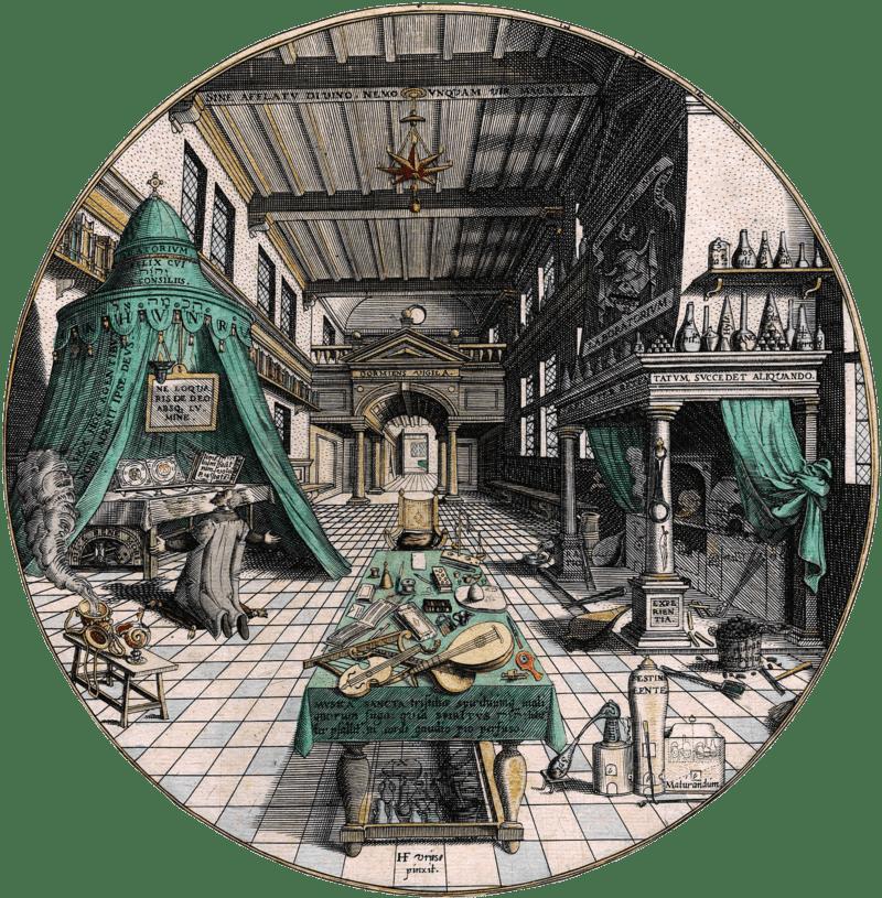 Gerolamo Cardano - Hans Vredeman de Vries, Amphitheatrum sapientiae aeternae, 1598 ca. (public domain, via Wikimedia Commons).