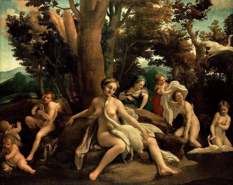 Antonio Allegri detto il Correggio, Leda, 1530-1531 circa, Gemäldegalerie di Berlino - Public Domain via Wikipedia Commons.