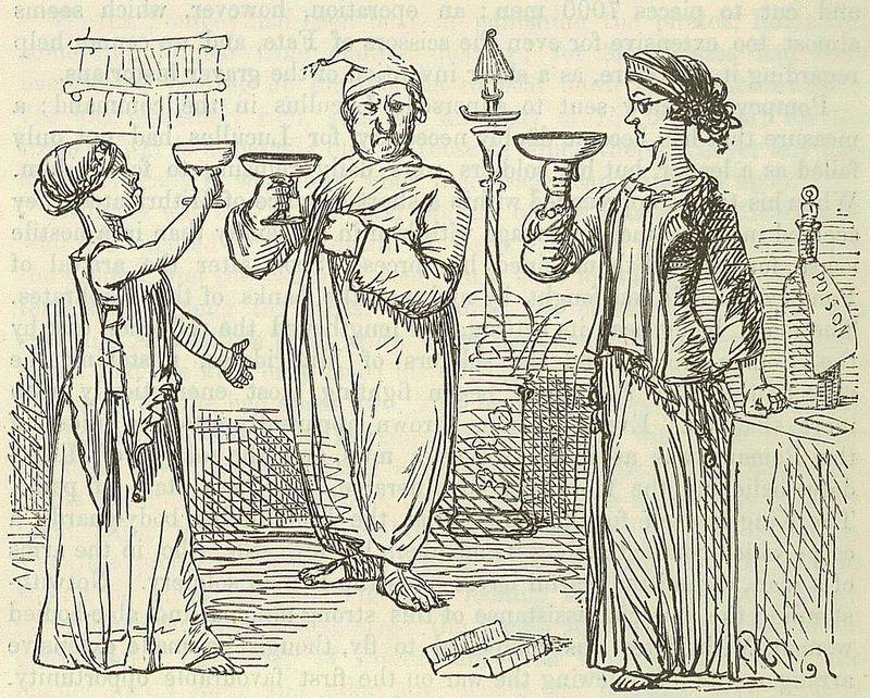 Illustrazione di John Leech per la Comic History of Rome, 1850. Dopo la sconfitta con Pompeo, Mitridate decise di suicidarsi con il veleno insieme alle sue figlie, che morirono all'istante, mentre su di lui, ormai immune, non sortì alcun effetto. (public domain, via Wikimedia Commons).