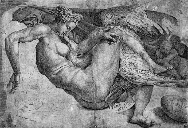 Cornelis Bos da Michelangelo, Leda e il cigno, post 1537 -  Public Domain via Wikipedia Commons.