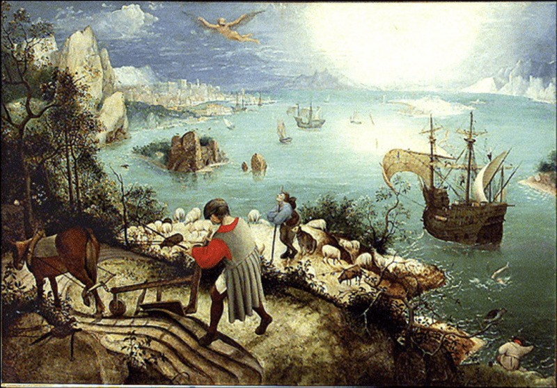 Dopo Bruegel, Paesaggio con la caduta di Icaro (Musee Van Buuren, Bruxelles) - Wikimedia Commons