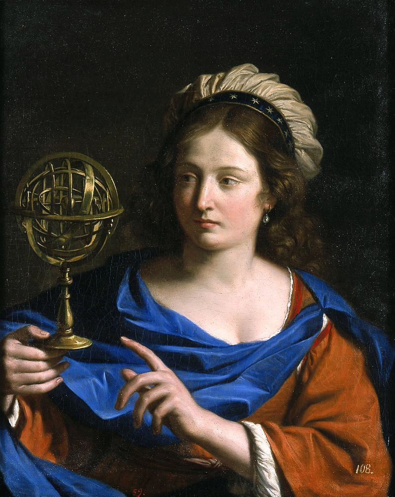 Guercino, Personificazione dell'Astrologia, 1650-1655 (public domain, via Wikimedia Commons).