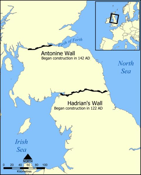 Hadrians Wall map - via Wikimedia Commons