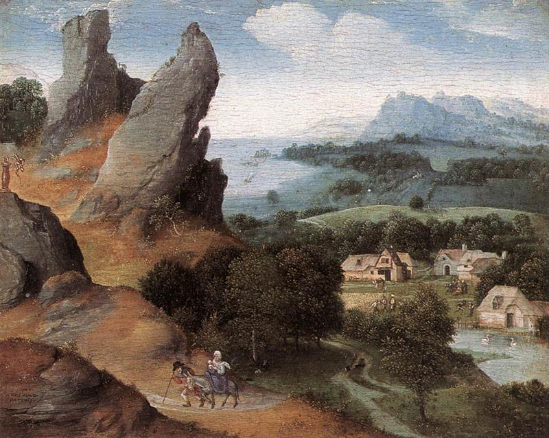 Joachim Patinir, Landscape with The Flight into Egypt - Public Domain via Wikipedia Commons