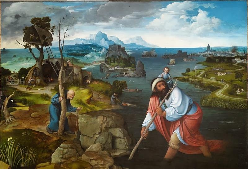 Joachim Patinir, San Cristoforo trasporta il Bambin Gesù (1520 circa) - Public Domain via Wikipedia Commons