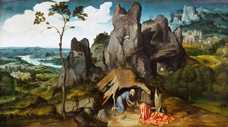 Joachim Patinir, San Gerolamo nel deserto, c.1520, The Louvre Museum, Paris - Public Domain via Wikipedia Commons
