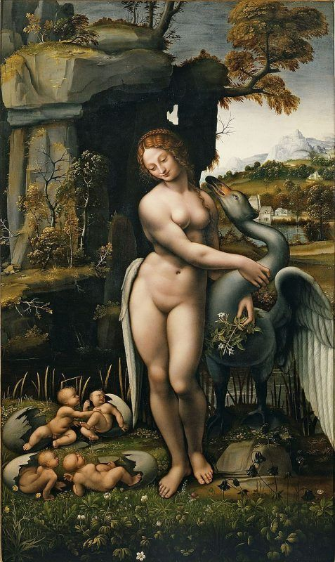 Leda and the Swan copy by Giovanni Francesco Melzi after the lost painting by Leonardo- Public Domain via Wikipedia Commons.
