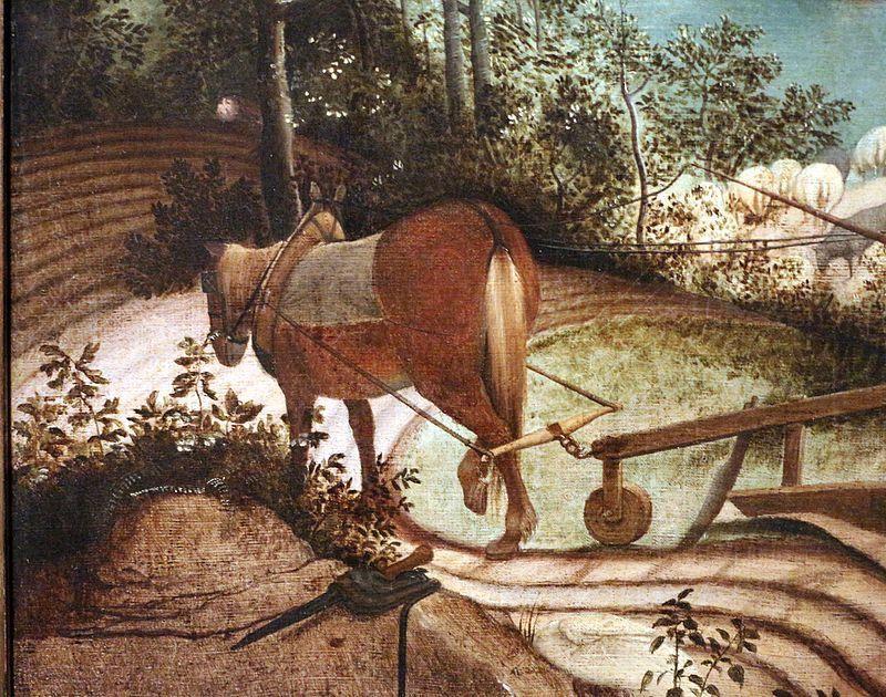 Pieter  Bruegel il Vecchio, Caduta di Icaro, Particolare cavallo