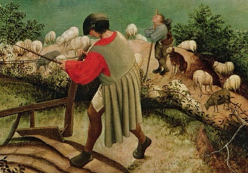 Pieter  Bruegel il Vecchio, Caduta di Icaro, Particolare contadino