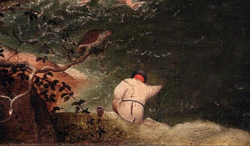 Pieter  Bruegel il Vecchio, Caduta di Icaro, Particolare pescatore
