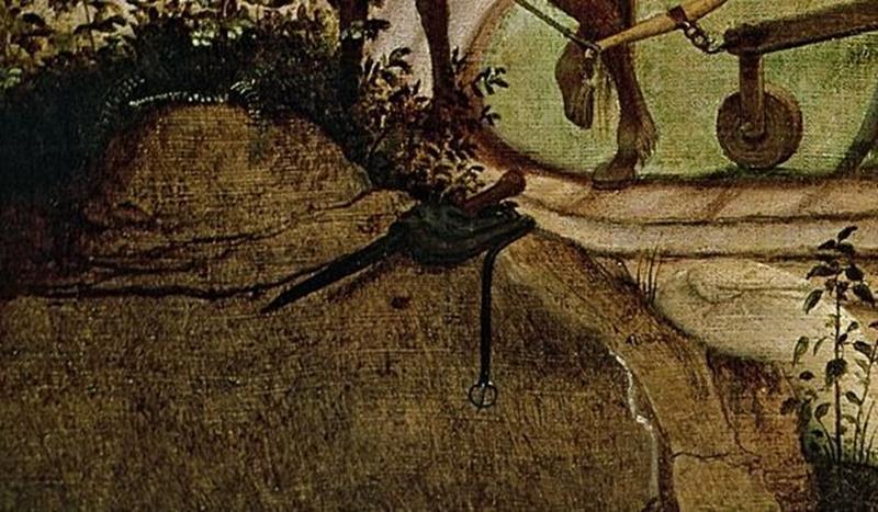 Pieter  Bruegel il Vecchio, Caduta di Icaro, Particolare pugnale e borsa