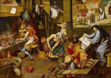La Teriaca - L'alchimista, Pieter Brueghel il Giovane, 1558 ca. (public domain, via Wikimedia Commons).