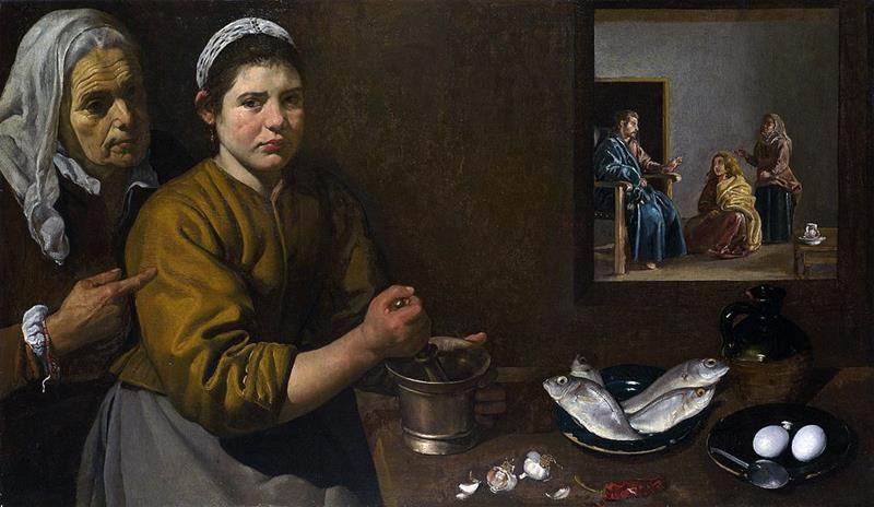 Diego Velázquez, Cristo nella casa di Marta e Maria, 1618, National Gallery, London - Public Domain via Wikipedia Commons