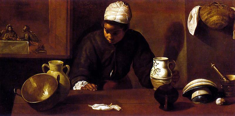 Diego Velázquez , La serva di cucina con la Cena di Emmaus o La mulatta, ca. - Public Domain via Wikipedia Commons
