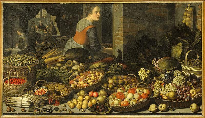 Floris van Schooten, Natura morta con frutta e verdura, e Cristo a Emmaus sullo sfondo, ca. 1630 - Public Domain via Wikipedia Commons