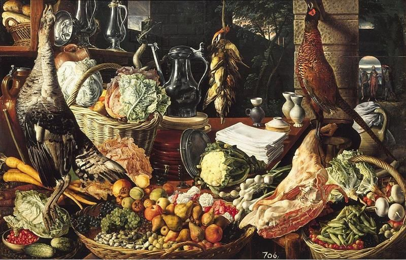Joachim Beuckelaer, Kitchen Scene with Meeting on the road to Emmaus, 1560-65, L'Aia - Public Domain via Wikipedia Commons