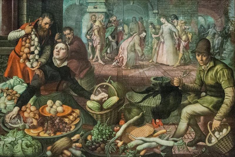 Pieter Aertsen, Scena di mercato con Cristo e l'adultera, Nationalmuseum, Stoccolma - Public Domain via Wikipedia Commons