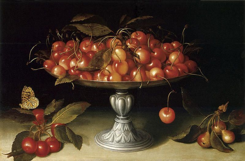 Fede Galizia (1578-1630) - Cherries in a silver compote with crabapples. No date found - Public Domain
