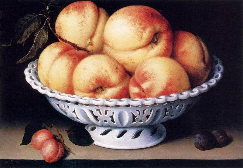 Fede Galizia (Milano 1578-1630), Fruttiera con pesche e prugne, 1610 ca. - Public Domain via Wikipedia Commons