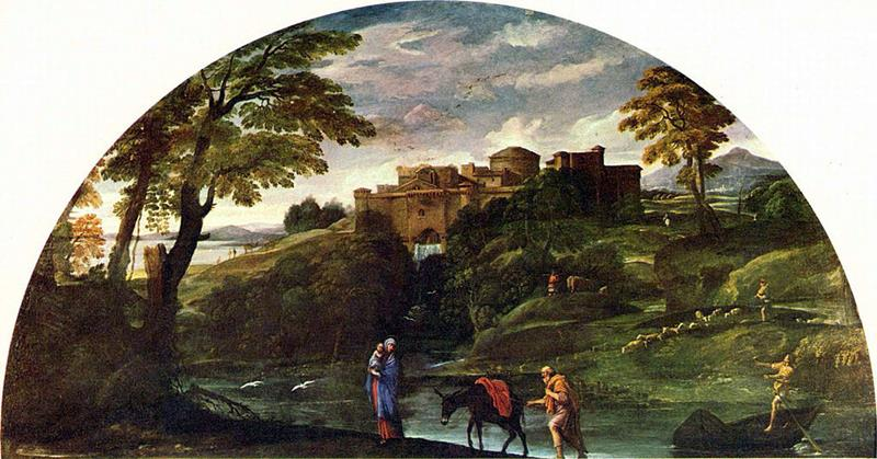 Annibale Carracci, Paesaggio con la fuga in Egitto, 1602-04, Galleria Doria Pamphilij, Roma - Public Domain via Wikipedia Commons