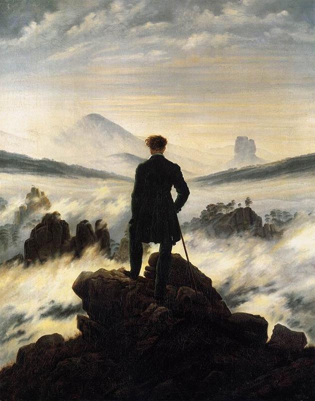 Caspar D. Friedrich, Viandante sul mare di nebbia, 1818, Hamburger Kunsthalle, Amburgo - Public Domain via Wikipedia Commons