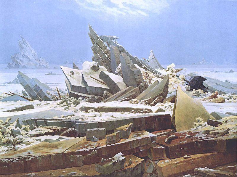 Caspar David Friedrich, Das Eismeer, auch Die gescheiterte Hoffnung, 1823-24 - Public Domain via Wikipedia Commons