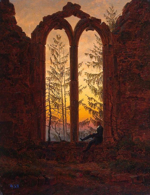 Caspar David Friedrich, Der Träumer (Klosterruine Oybin), (1820-1840) - Public Domain via Wikipedia Commons