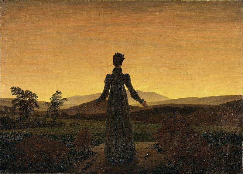 Caspar David Friedrich - Donna al tramonto del sole, 1818 - Public Domain via Wikipedia Commons