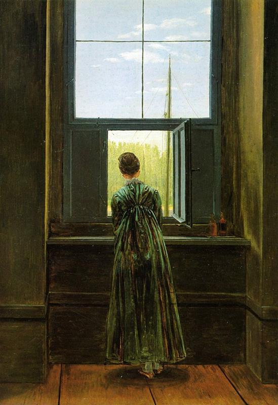 Caspar David Friedrich, Frau am Fenster (1822) - Public Domain via Wikipedia Commons