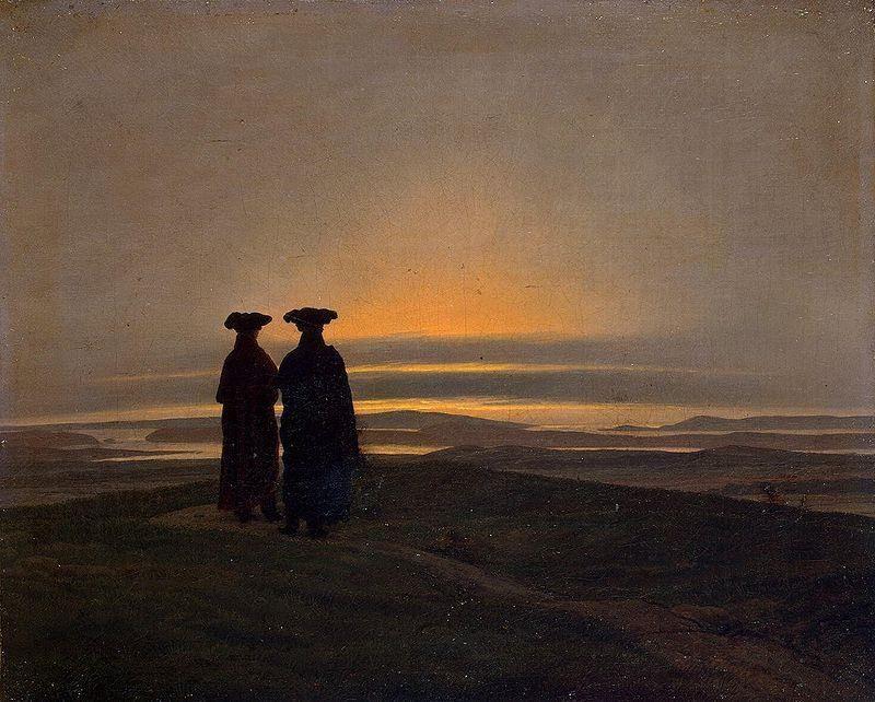 Caspar David Friedrich, Il tramonto, 1830-35, Museo dell'Ermitage, San Pietroburgo - Public Domain via Wikipedia Commons
