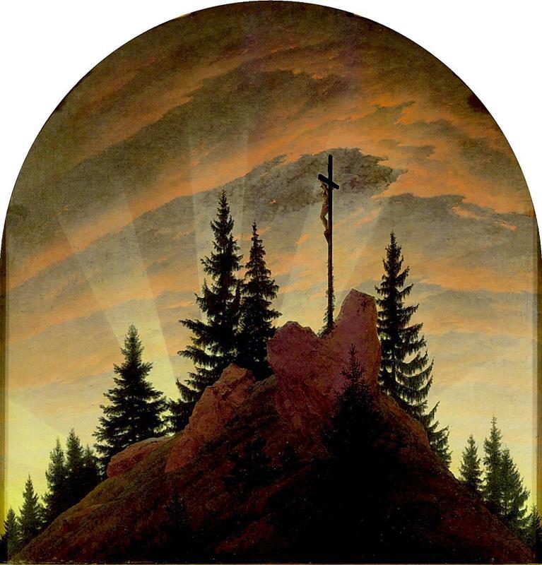Caspar David Friedrich, La croce sulla montagna, 1808, Dresda, Gemaldegalerie - Public Domain via Wikipedia Commons