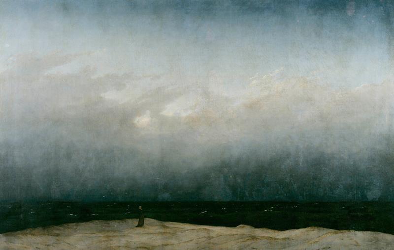 Caspar David Friedrich, Monaco in riva al mare, 1808-10, Berlino, Alte Nationalgalerie - Public Domain cia Wikipedia Commons