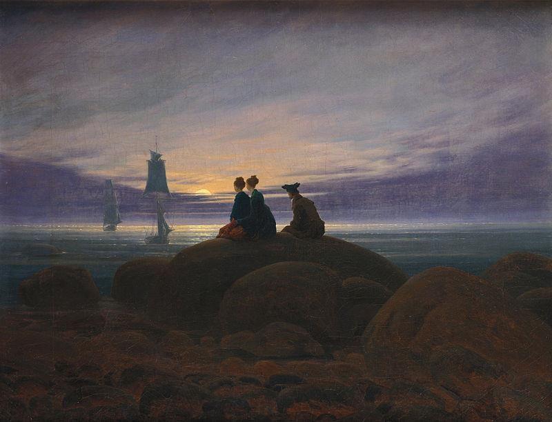 Caspar David Friedrich, Mondaufgang am Meer (1822) - Public Domain via Wikipedia Commons