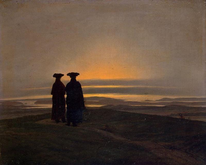 Caspar David Friedrich, Sunset, Public Domain via Wikipedia Commons