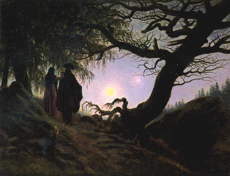 Caspar David Friedrich, Un uomo e una donna davanti alla luna, ca. 1824, Berlino, Nationalgalerie - Public Domain via Wikipedia Commons