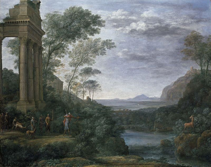 Claude Lorrain, Ascanius Shooting the Stag of Sylvia, 1682 - Public Domain via Wikipedia Commons