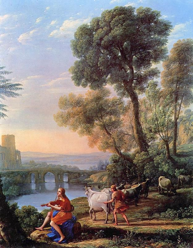 Claude Lorrain, Landscape with Apollo Guarding the Herds of Admetus and Mercury stealing them (1645) - Public Domain via Wikipedia Commons