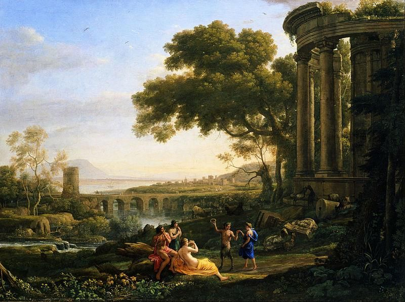 Claude Lorrain, Landscape with Nymph and Satyr Dancing, 1641, Toledo Museum of Art - Public Domain via Wikipedia Commons