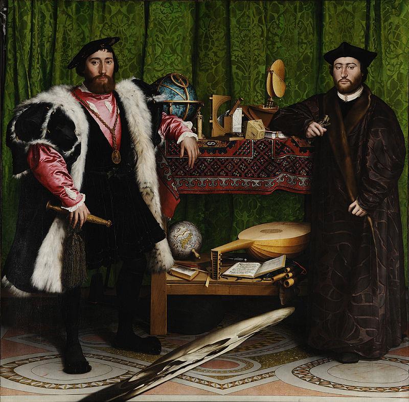 Hans Holbein il Giovane, Gli ambasciatori, 1533, National Gallery, Londra - Public Domain via Wikipedia Commons