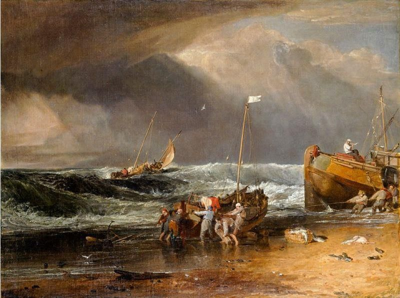Joseph Mallord William Turner, A Coast Scene with Fishermen Hauling a Boat Ashore,1803 ca. - Public Domain via Wikipedia Commons