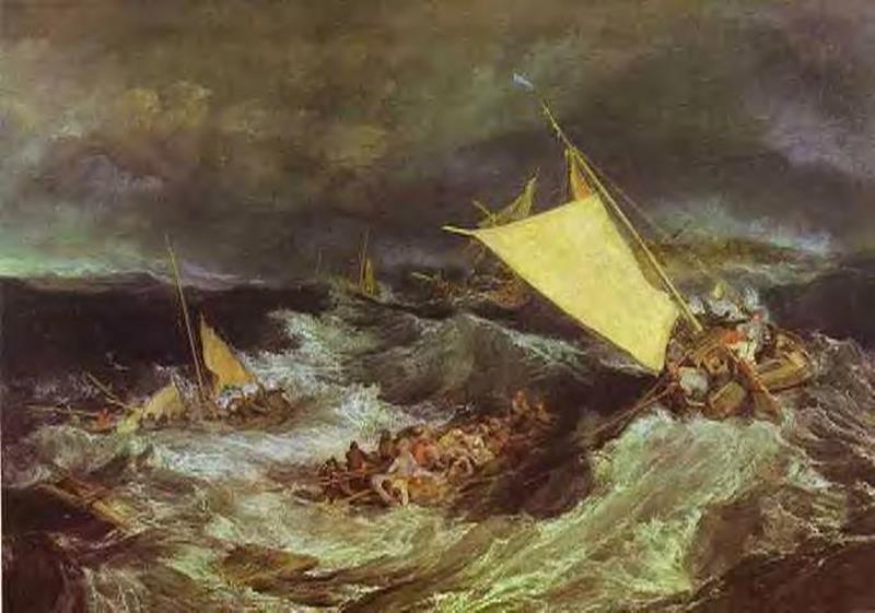 Joseph Mallord William Turner, Il naufragio, 1805, Londra, Tate Britain - Public Domain via Wikipedia Commons