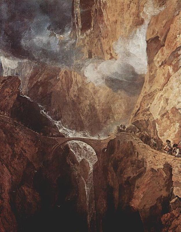 Joseph Mallord William Turner, The Devil's Bridge, St Gothard c.1803–4, Kunsthaus Zürich - Public Domain via Wikipedia Commons